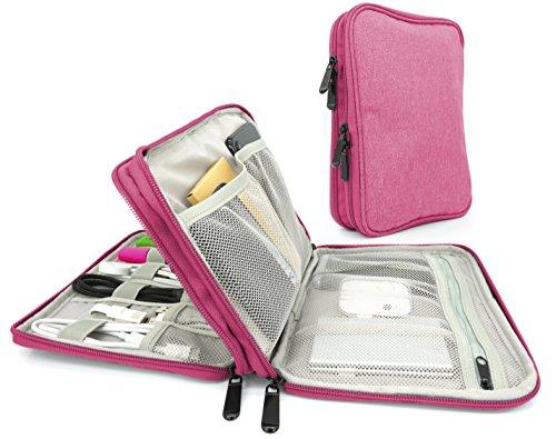 MyGadget Organizzatore Porta Cavi da Viaggio - Custodia Universale per Accessori Elettronici - Organizer Hard Disk/Memory/SD Cards Powerbank - Rosa