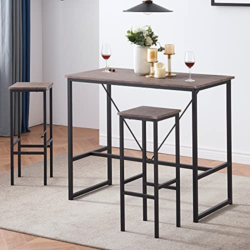 SHOCOKO Bar Table Set for 2, 3-Piece Counter Height Dining Room Table...