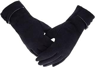 Women Winter Warm Fleece Lined Micro Velvet Gloves Ladies Touch Screen Mittens Black