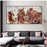 JLFDHR Pintura Abstracta Carteles e Impresiones de Animales Pintura Colorida de la Lona de la Vaca Cuadros Decorativos para la Sala de estar-50x100cmx1 sin Marco