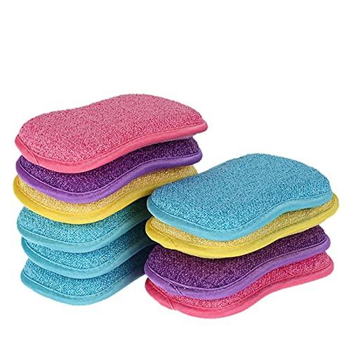 WERWER 5/10/20PCS Scrub Sponges for Dishes Non-Scratch Microfiber Sponge Non Stick Pot Cleaning Sponges Kitchen Tools Wash Pot Gadgets (Color : 10PCS)