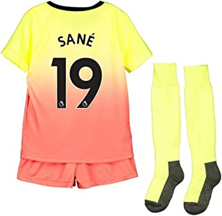 ZXAOYUAN 2019-2020 Manchester City Sané #19 Kids/Youths Third Soccer Jersey & Short & Socks Kit Yellow/Red