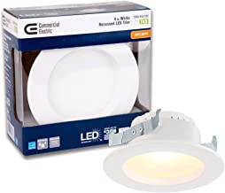 Commercial Electric 4 in. White Integrated LED Recessed Trim, 2700K