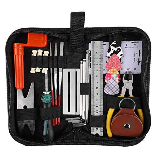 Exceart Gitaar Reparatie Gereedschap Kit Gitaar Onderhoud Onderhoud Gereedschap Met Koffer Voor Gitaar Ukelele Bas Banjo Viool (Zwart)