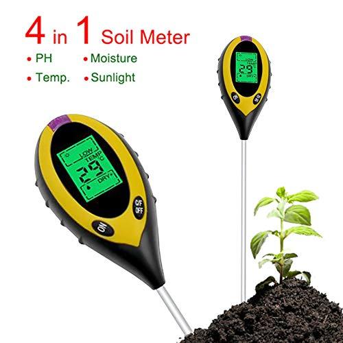 Sonicee 4 in1 Soil PH Meter Tester Digital Temperature Sunlight Fertility Hygrometer