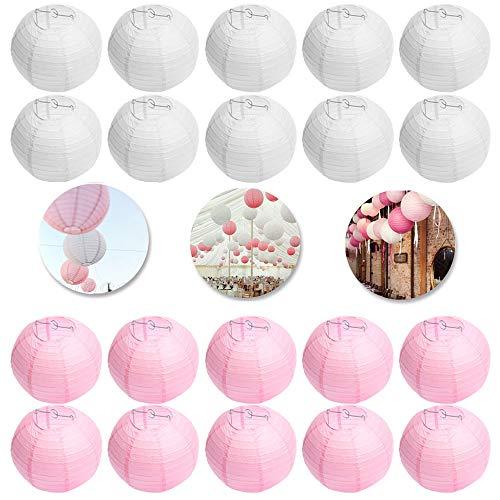 FullBerg 10er weiße + 10er Rosa Papier Laterne Lampion Rund Lampenschirm Ballform für Hochtzeit Kirche Garten Party Dekoration (25cm 10