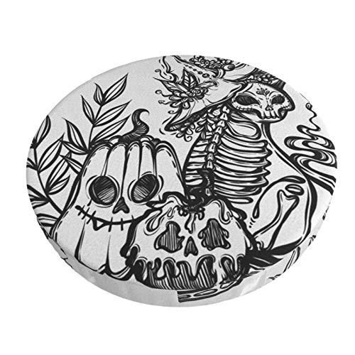 Runde Barhocker Kissenbezüge Halloween Mystical Cat Skeleton rutschfeste runde Sitzbezug Protector Elastic Barhocker Samt Schonbezug für Circle Office Rolling Swivel Salon Tattoo Chair