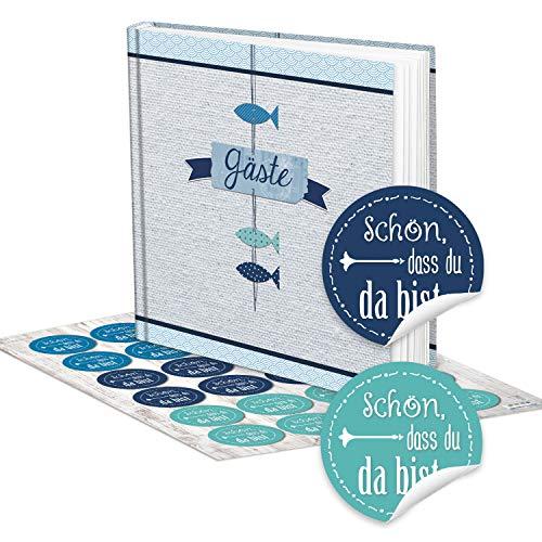 Fische Gästebuch Hochzeitsgästebuch blau weiß türkis+ 24 SCHÖN DASS DU DA BIST AUFKLEBER...