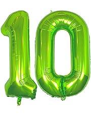 DIWULI, gigantiska XXL nummerballonger, nummer 10, ballonger gröna, nummerballonger, folieballonger stort nummer utan år, folieballonger 10:e födelsedag, festdekoration, dekoration, presentdekoration