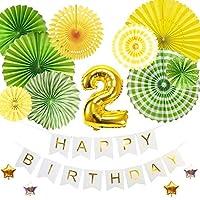 2歳バースデー デコレーションバルーンセット グリーン 誕生日 豪華 飾り付け 数字風船 ペーパーファン ガーランド お祝い パーティー