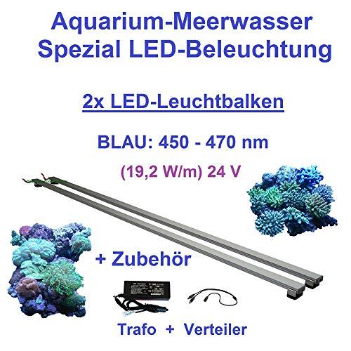 Meerwasser Aquarium - LED-Leuchtbalken 80 cm, 2 Leisten BLAU mit Trafo 30W u. Verteiler
