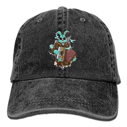 Not Applicable Dad Hat,Ocio Sombrero,Sombreros Sombrilla Al,Sombrero De Deporte,Sombrero De Sol,Conejo Tocando Acordeón Denim Jeanet Gorra De Béisbol Ajustable Papá Sombrero