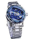 Winner Transparent Blue Gear Movement Analog Display Diamond Mecanical Hand Wind Skeleton Wrist Watch