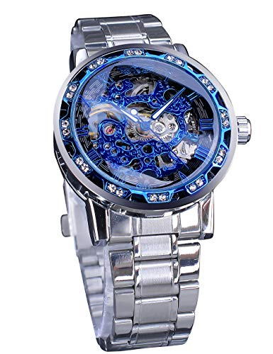 Ganador azul transparente movimiento de engranaje analógico pantalla diamante mecánico mano viento esqueleto reloj de pulsera
