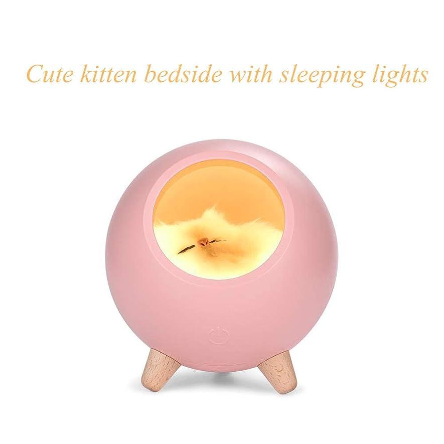 ライナー英語の授業があります借りているUSB充電、ユニークなギフト、クリスマスのギフトを持つキティペットハウスナイトライト、テーブルランプ、ベッドライト、眠る子猫ランプ、