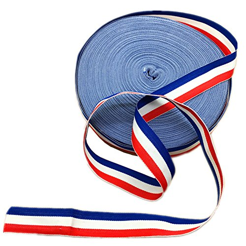 1 Inch Width Grosgrain Stripes Ribbon American Flag Patriotic Ribbon for Independence Day Party Decoration 50 Yards (Red White and Blue)