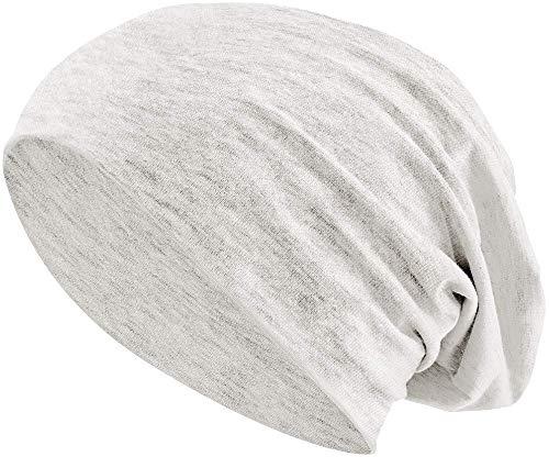 Jersey Baumwolle elastisches Long Slouch Beanie Unisex Mütze Heather in 35 (3) (Heather Beige)