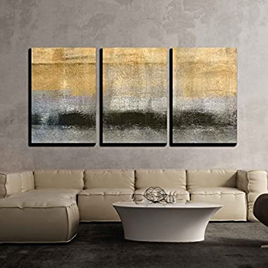 wall26 3 Piece Canvas Wall Art - Abstract Landscape with Golden Black and Grey Color - Modern Home Decor Stretched and Framed Ready to Hang - 24 x36 x3 Panels