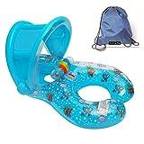 Aufblasbarer Schwimmring von JCT für 2 Personen Mama und Baby, Abnehmbarer Schwimmring, Babysitz, Pool-Spielzeug mit Sonnenschutz, Blau