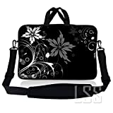 LSS Neoprene Laptop Sleeve w/Handle & Adjustable Shoulder Strap Fits 11' 11.6' 12' Netbook, Black and White Floral