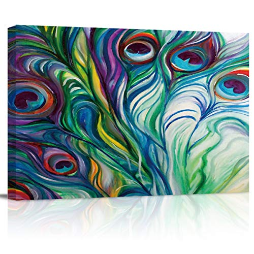 EZON-CH Feather Wall Art - Watercolor Peacock Feather - Canvas Art Wall Art Stretched and Framed Ready to Hang - 12x16 inch Printed Artworks for Home Office Living Room Bedroom Decoration