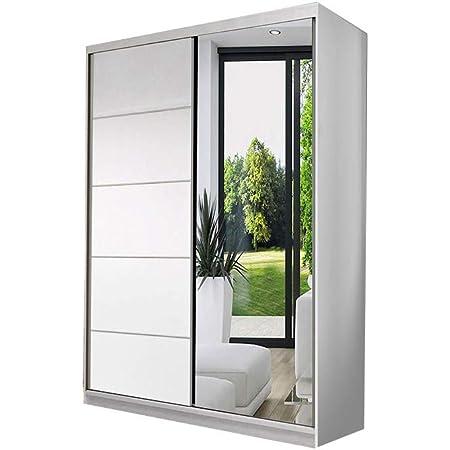 E-MEUBLES Armoire de Chambre avec 2 Portes coulissantes | Penderie (Tringle) avec étagères (LxHxP): 120x200x61 Noah 05 (Blanc)