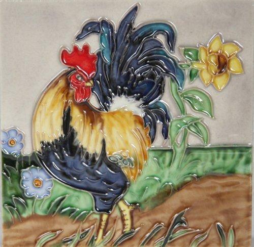 YH-Arts 'Gallo 7,6cm Piastrelle in Ceramica, Multicolore, 6x 15,2cm
