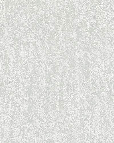 Tapete Weiß Grau Struktur Betonoptik Uni Vlies für Whonzimmer Schlafzimmer oder Küche Made in Germany 10,05m x 0,53m Novamur 82064