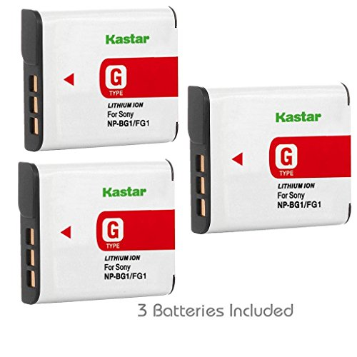 Kastar Battery (3-Pack) for Sony NP-BG1, NP-FG1 and Cyber-Shot DSC-W220, DSC-W120, DSC-W150, DSC-H3, DSC-H7, DSC-H9, DSC-H10, DSC-H20, DSC-H50, DSC-H70, DSC-H55, DSC-HX5V, HX7V, HX9V, HX10V, HX30V