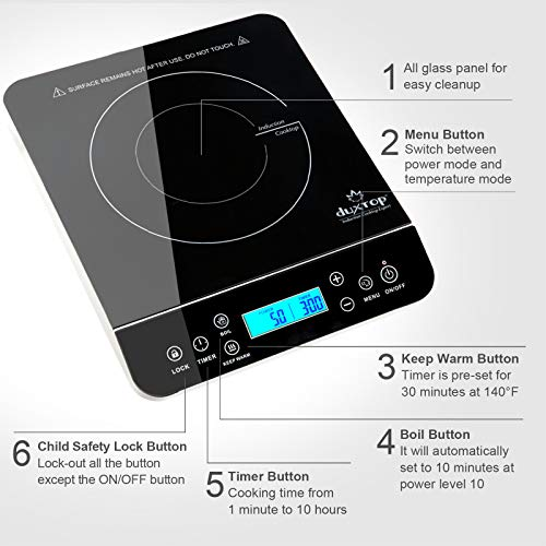 Product Image 4: Duxtop Portable Induction Cooktop, Countertop Burner Induction Hot Plate with LCD Sensor Touch 1800 Watts, Silver 9600LS/BT-200DZ