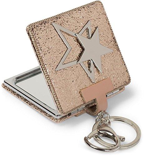 styleBREAKER specchietto da borsa quadrato con stelle ricoperte di strass e catenina, ingrandimento 1 X / 3X, specchietto compatto, pieghevole, 2 lati 05070006, colore:Oro Rosa metallizzato