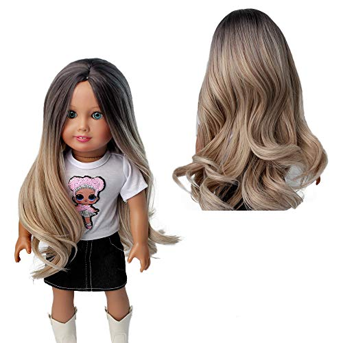 AIDOLLA Doll Wigs for 18'' American Dolls, Girls Gift Heat Resistant Long Curly Hair Replacement Wigs for 18'' Dolls DIY Making Supplie