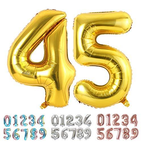 Ponmoo Foil Globo Número 45 54 Dorado, Gigante Numeros 0 1 2 3 4 5 6 7 8 9 10-19 20-29 30-39 40-49 50-60-70-80-90-100, Grande Globos para La Boda Aniversario, Globo de Cumpleaños Fiesta Decoración