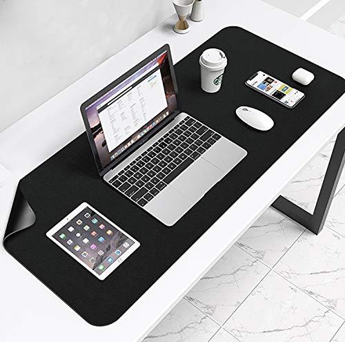 Multifunktionales Office EIN Schreibtisch Matte, 80 x 40 cm wasserdichte Schreibtischunterlage aus PU-Leder, Ultradünnes Mousepad Zweiseitig Nutzbar, Ideal für Büro und Zuhause (Schwarz)