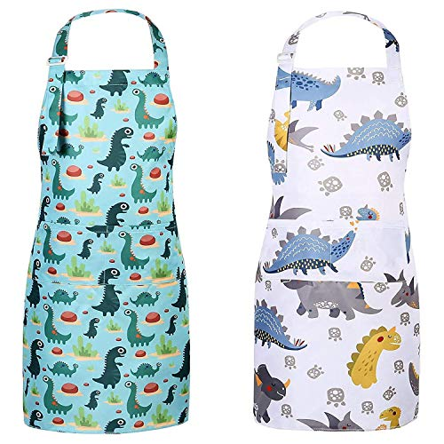 SUSSURRO 2Pcs Kids Apron Boy Dinosaur Apron with 2 Pockets Adjustable Chef Apron for Girls Boys Kitchen Cooking Baking Painting Wear