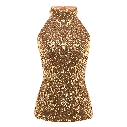 YiZYiF Chaleco Sexy Blusa con Lentejuelas Mujer Crop Tops de Danza Camiseta sin Manga Bandeau Cuello Halter Traje Pole Dance Clubwear Dorado Talla Única