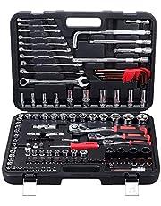 """120 stuk chroom vanadium socket sleutel set, inclusief 72-tanden ratel handgreep combinatiesleutel 1/2""""3/8"""" 1/4""""stuurprogramma, multifunctionele automatische onderhoud hardware tool kits"""