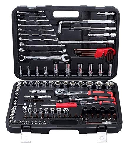 Conjunto de llaves de zócalo de vanadio cromo de 120 piezas, incluyendo llaves de combinación de manija de trinquete de 72 dientes 1/2 '3/8' 1/4 ', kits de herramientas de hardware de mantenimiento au