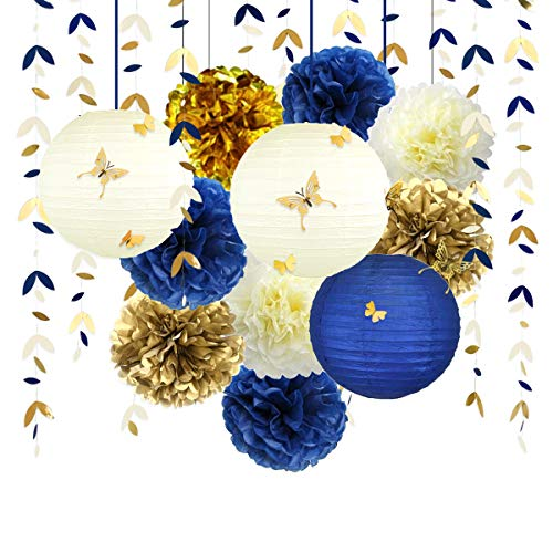 Navy Blue and Gold Party Decoration Kit Lanterns Flowers Pom Pom with Champagne Gold 3D Butterfly Stickers and Leaf Garland Streamers for Birthday Engagement Wedding Bridal Shower Bachelorette Party