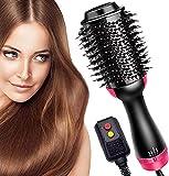 ultimate air dryer hair brush - Hair Dryer Brush and Hot Air Brush, Bvser Air Hair Brush 3 in 1 One Step Hair Dryer and Styler Volumizer for Rotating Straightening, Curling, Salon Negative Ion Ceramic Blow Dryer Brush - Black Red