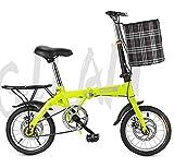 ABDOMINAL WHEEL Bicicleta Plegable,Ligero Genuino De 6 Velocidades, Bicicleta Plegable con Las Defensas Sillin Confort, Unisex Adulto 14/16/20' Bicicleta Plegable