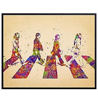 Beatles Poster - Beatles Gifts - The Beatles Wall Art - 8x10 Abbey Road Home Decor - John Lennon Paul McCartney Ringo Starr George Harrison Wall Decor - 60s Music