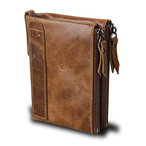 Small Vintage Crazy Horse Leather RFID Blocking Wallet Short Purse Bifold with Double Zipper Pockets for Men