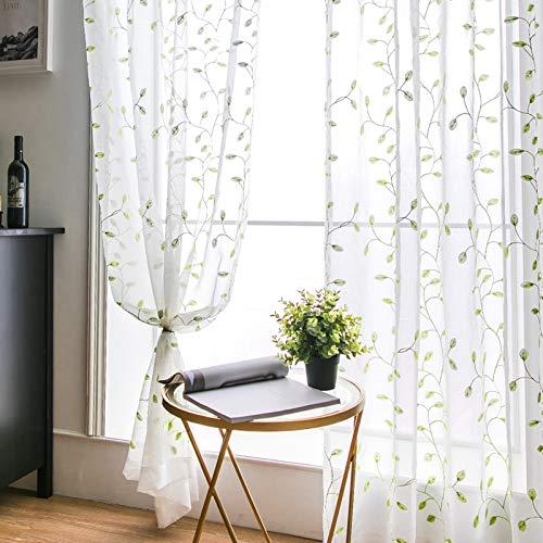 MIULEE Vorhang Voile Blumen Stickerei Vorhänge mit Ösen transparent Gardine 2 Stücke Ösenvorhang Gaze paarig schals Fensterschal für Wohnzimmer Schlafzimmer 175 cm x 140 cm(H x B) 2er-Set