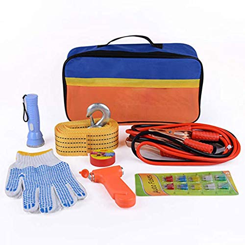Car Emergency Kit, Multifunktionspannenhilfe Autopanne Tool Kit Für Europa Reise Mit Überbrückungskabel, Abschleppseil, Taschenlampe