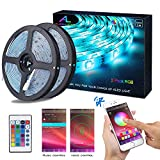 Ruban LED Bluetooth, ALED LIGHT Bande LED Étanche 2x5M(10M) 5050 RGB 150 LEDs, Contrôlé par APP du Smartphone Android...