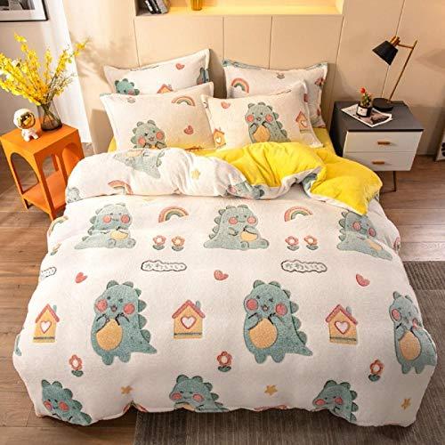 white duvet cover-Winter snow fleece four-piece set double-sided velvet bedding single bed single king double duvet cover pillowcase gift-CC_1.8m bed (4 pieces)