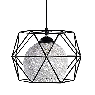 Pendant Ceiling Light Fixture, Industrial Farmhouse Hanging Lamp, Vintage Cage Lighting Black Metal with Inside Wicker Shade for Kitchen Island, Dinning Room, Living Room, E26 LED Light Bulb Incl.