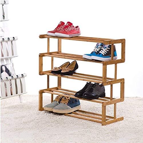 Estante de zapatos Zapatero de bambú natural zapatero con 4 niveles, simple Economía doméstica zapatero, de múltiples capas, Dormitorio for salón de actos, madera maciza zapatero Bandeja de almacenami