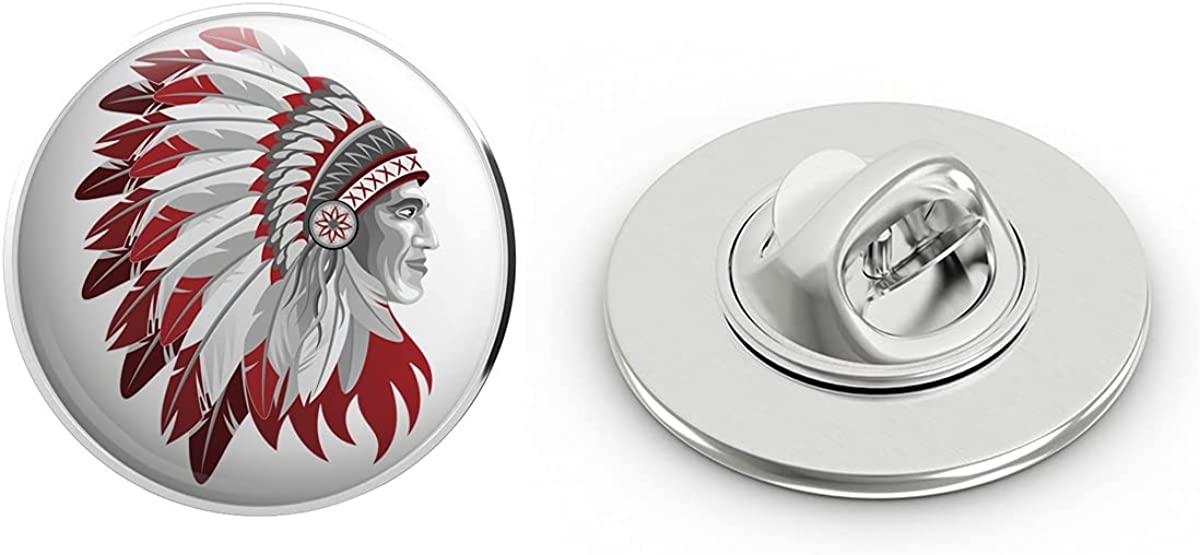 BRK Studio Red and White Native American Indian Chief in Headdress Round Metal 0.75
